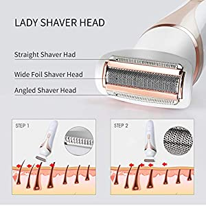 Epilator Electric Razor Hair Removal Multi-Function Shavers for Women Epilation Waterproof Bikini Trimmer with Facial Cleansing Brush and Massager 4 in 1 Kit for Legs, Arm, Face, Body