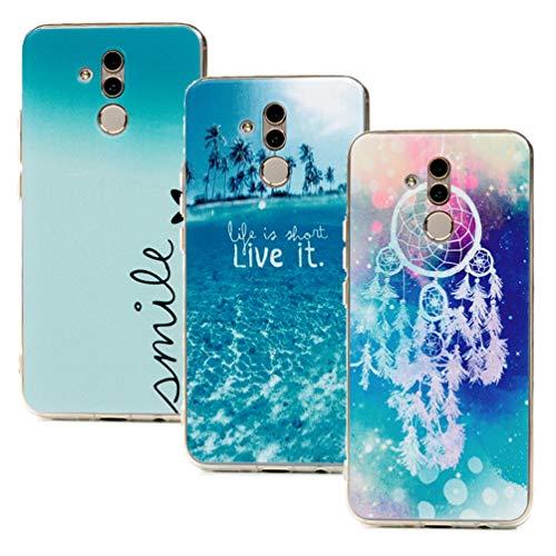 ToneSun Hülle für Huawei Mate 20 Lite, 3X Gemalt Handyhülle Case, Silikon Schale Schutzhülle Handytasche Crystal Clear Durchsichtig Cover in Sea Coconut Grove + Windspiele + Liebe -