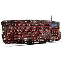 Tres Colores Teclado Luminoso Ajustable con luz de fondo Púrpura Rojo Azul modelo fresco grieta resistente a derrames Teclado Multimedia Juegos (Negro)