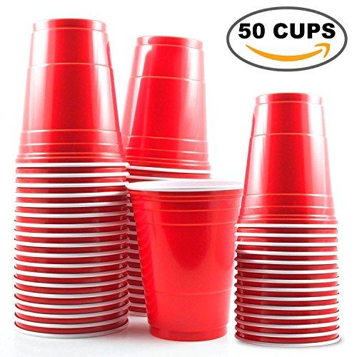 Foto de 50 Vasos Rojos Desechables de 16oz – Accesorio de Fiesta para Celebración de Navidad y Cumpleaños – Articulo de Vajilla y Menaje Ideal para Juego Americano de Beer Pong – Apoyo de Decoración