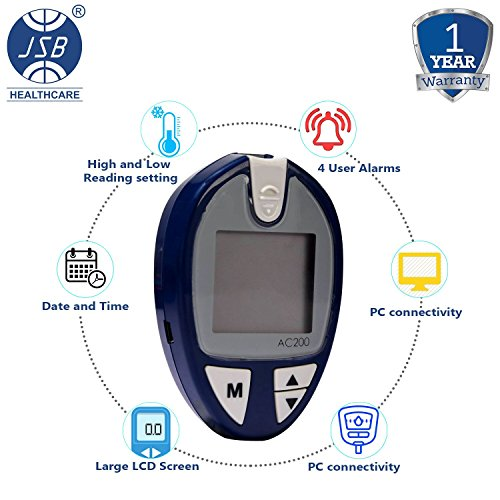 JSB AC200 Blood Glucose Monitor (Blue) with Free Strips - 100 Count and Lancets - 100 Count