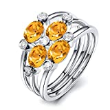 Aooaz Schmuck Damen-Ring 925 Sterling Silber 5x3mm Citrin Zirkonia Ovalschliff Verlobungsringe Silber Gr.65 (20.7)