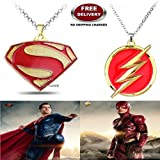 (2 Pcs COMBO SET) - SUPERMAN ( GOLD PLATED ) & FLASH (GOLD PLATED) IMPORTED PENDANTS WITH CHAIN. LADY HAWK DESIGNER SERIES 2018. ❤ ALSO CHECK FOR LATEST ARRIVALS - NOW ON SALE IN AMAZON - RINGS - KEYCHAINS - NECKLACE - BRACELET & T SHIRT -