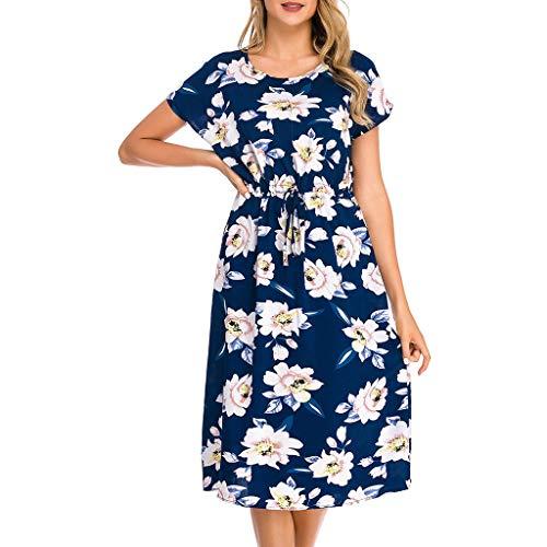GOKOMO Kleider Damen Sommer Festlich Elegant Vintage Print Kurzarm O Neck Casual Mid Calf Kleid(Blau,Medium) Stripe Short Beanie