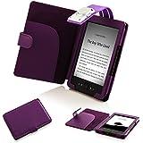 ForeFront Cases T4L Étui en cuir portefeuille avec lampe de lecture à LED pour Amazon Kindle 4 Kindle 4 Violet - violet