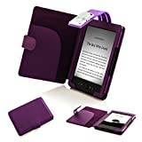 Forefront Cases Funda con luz LED para Kindle 4 (piel sintética), color azul morado morado Kindle 4
