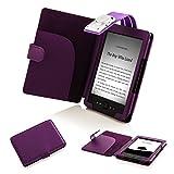 Forefront Cases® T4L–Handy Effekt Leder mit Licht Integrierte LED für Lesen, für Amazon Kindle 4 Kindle 4 Lila - lila
