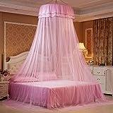AUTOECHO Moskito Bett Net Baldachin mit Luxus-Prinzessin Hanging Round Spitze Vorhänge Zelt Full Canopy Bett Netting für Student Dome Moskitonetz für Kinderbett Twin Full Queen-Bett