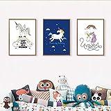 ZSHSCL Impresión En Lienzo De Pintura 3 Piezas Unicornio De Dibujos Animados Arte De La Habitación del Sueño Cartel De Lienzo Impresión De Cuadros De Pared Nórdicos para Niños Dormitorio Decoraci