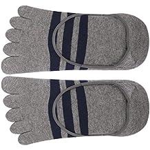 Rayas De Algodón Footful Cinco Dedos Toe Calcetín Calcetines Invisibles Para Los Hombres Grises
