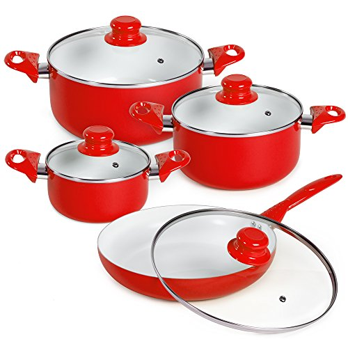 TecTake 8 piece ceramic cooking pots lids pan pot saucepan cookware set red