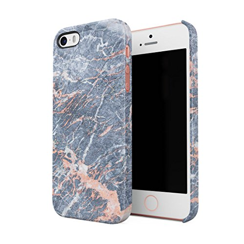 Grey Granite & Peach Strips Marble Print Hard Thin Plastic Phone Case Cover For iPhone 5 & iPhone 5s & iPhone SE