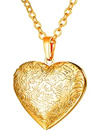 """U7 Women's Locket Necklace With Rolo Chain 22"""" 18K Gold Plated Flower Engraved Heart Shaped Pendant Valentines..."""
