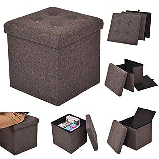 Costway Sitzhocker mit Stauraum Sitzwürfel Sitzbox Sitzbank Aufbewahrungsbox Ottomane faltbar 38x38x38cm Farbwahl (braun)