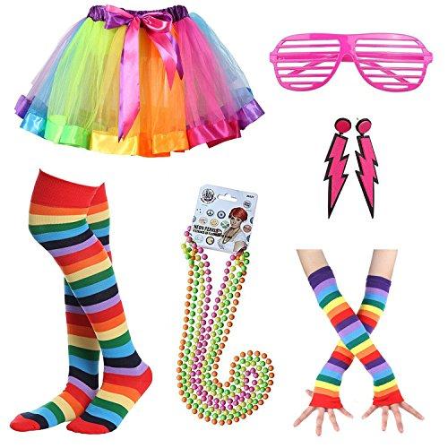 iLoveCos 80er Night Out Party Kleid Zubehör Neon Erwachsener Regenbogen Tutu Beinwärmer Handschuhe,Fluoreszierende Perlen Halsketten,Blitz Ohrringe,Sonnenbrille 1980s Mädchen Frauen Fancy Dress(A9)