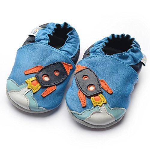 Jinwood designed by amsomo - Jungen - Maedchen - Hausschuhe - ECHT LEDER - Lederpuschen - Krabbelschuhe - soft sole / mini shoes div. Groeßen rocket blue soft sole