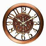 Foxtop Vintage Wanduhr mit lautlosem Uhrwerk - Silent Nicht-tickende Wanduhr w Frontglas-Abdeckung 28 cm (kupfer)