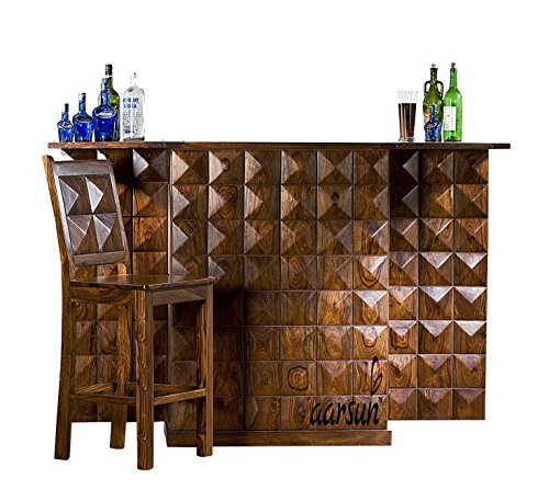 Aarsun Sheesham Handmade Modern Style Wooden Bar Cabinet / Wine Bar Without Chair