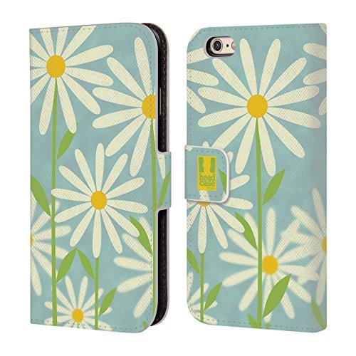 Iphone 3g Hard Snap (Hülle + Folie PU Leder Geldbörse mit Kreditkarte Slot Passend für Apple iPhone 6/6S 11,9cm Geldbörse/Clutch/Tasche mit Tablett Blaugrün Daisy)