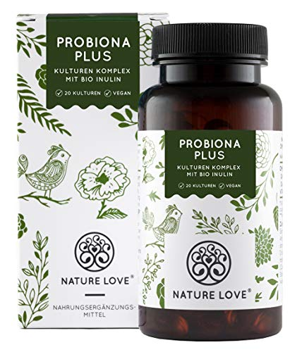 Probiona PLUS - 120 Mrd KBE je Tagesdosis: bis zu 12-fach höher dosiert als andere Kulturen Komplexe - 20 Bakterienstämme + Bio Inulin - Magensaftresistente Kapseln - Vegan, Made in Germany -