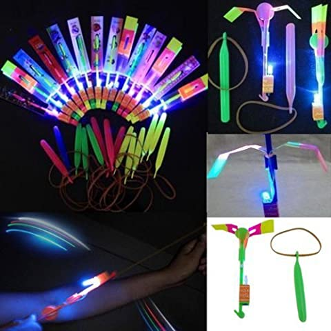 12pc Amazing Led Light Arrow Rocket Helicopter Flying Toy Party Fun Gift Elastic by HYL TOY (English Manual)
