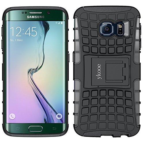 ykooe Galaxy S6 Edge Hülle, TPU Handyhülle Samsung Galaxy S6 Edge Dual Layer Hybrid Handy Schutzhülle Case für Samsung S6 Edge, Schwarz