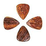 Laser Tones LASTHI4 Burma Padauk Hibiscus Lot de 4 médiators pour Guitare
