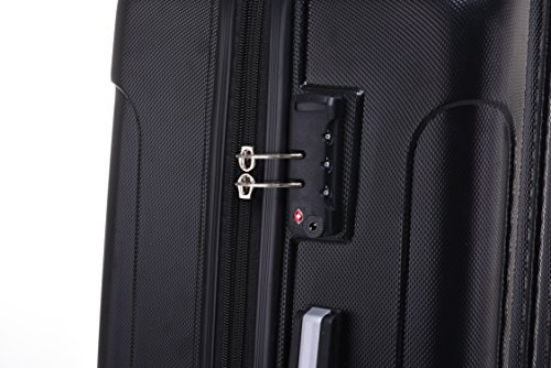 BEIBYE TSA Schloß, Zwillingsrollen, Dehnungsfuge, Hartschale Trolley Koffer Kofferset Reisekoffer Gepäckset (Schwarz) - 5