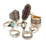 DAY.LIN Ringe Für Damen Ring Damen Der Herr Der Ringe 8PCS Vintage Frauen Boho Kristall Blume Knuckle Ring tibetischen türkischen (Gold)
