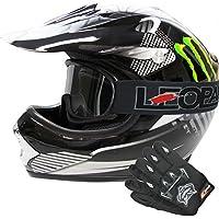 Leopard LEO-X18 Casco de Motocross Para Niños & Guantes y Gafas de Motocross Para Niños Bicicleta Motocicleta ATV Patio ECE 22-05 Aprobado Monstruo M (51-52cm)