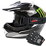Leopard LEO-X18 Enfant Kids Motocross Dirt Bike Off Road Crash Casque & Gants & Lunettes L (53-64cm) Monstre