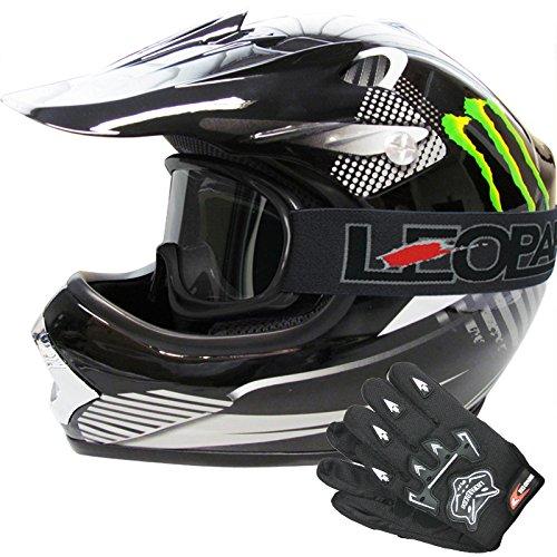 Leopard LEO-X18 *ECE 2205 Genehmigt* Kinder MX Motorradhelm Motocrosshelme + Handschuhe + Brille Off Road Enduro Sport - Monster M (51-52cm)