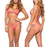 SHERRYLO 10 Solid Color Women's Thong Bikini Set String Bademode for S-XL Body (Coral)