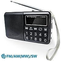 PRUNUS Radio portable FM/ MW/SW et lecteur Mp3 intégré par port USB et micro-SD (de 8 à 64 Go).Un HP en néodyme pour une très belle qualité d'écoute. Clavier du tableau de bord doté de grands boutons très lisibles. Batterie rechargeable. Stockage automatique des stations radio grâce au bouton SCAN.