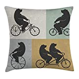 Vintage Decor Throw Pillow Cushion Cover by, Big Cute Bear on a Bike Bicycle Cycling Hipster Circus Life Outdoor Animal Enjoy, Decorative Square Accent Pillow Case, 18 X 18 Inches, Multi