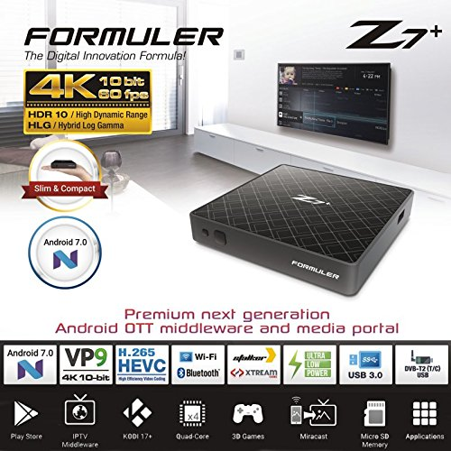 Formuler Z7+ 4K IPTV Android 7.0 Media Player,H 2.65, Wifi