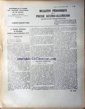 BULLETIN PERIODIQUE [No 55] du 16/11/1918 - SITUATION ALIMENTAIRE. SITUATION INDUSTRIELLE.