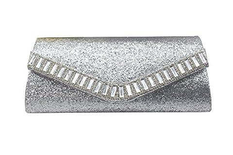 BEKILOLE Fashion Leather Party/Evening Clutch Magnetic Closure Purse Handbag Silver