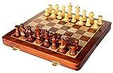 StonKraft handgefertigtes, hochwertiges Holz-Schachspiel 41 x 41 cm ? magnetische Schachkassette aus Rosenholz