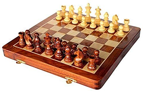 Stonkraft Handmade Premium wood 41 x 41 cm Chess Set - Rosewood Foldable Magnetic Set with Storage