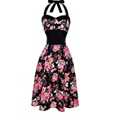VEMOW Elegante Damen Damen Vintage Bodycon Sleeveless Halter beiläufige Tanzabend Party Prom Brautjungfern Swing Dress Faltenrock Cocktailkleid(X2-Schwarz, EU-36/CN-S)