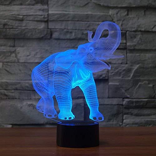 YKMY Novedad Elefante 3D Illusion lámpara Led luz de la Noche con 7 Colores Intermitentes y Interruptor táctil USB Powered Dormitorio lámpara de Escritorio para niños Regalos decoración del hogar