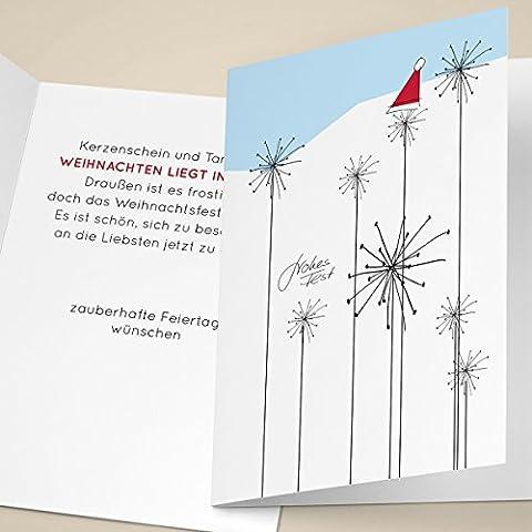 4er Set lustige Unternehmen Weihnachtskarten mit modernen Schneeflocken und Weihnachtsmann Mütze, mit ihrem Innentext (Var8) drucken lassen, als Weihnachtsgrüße geschäftlich / Neujahrskarte / Firmen Weihnachtskarte für Kunden, Geschäftspartner, Mitarbeiter: frohes Fest