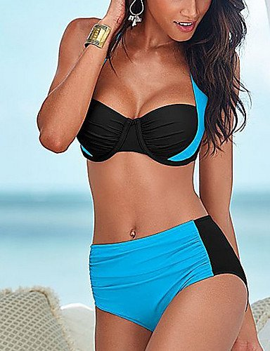 KLDDZQ Badeanzüge Damen Halter Bikinis Einfarbig, royal Blue, s