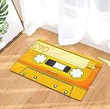 FREEZGTZ Amarillo Vintage Entrada Antideslizante Felpudo Cinta De Cassettes Magnética Cinta De Mezcla Alfombras Alfombras Dormitorio Alfombras Decorativas Esteras