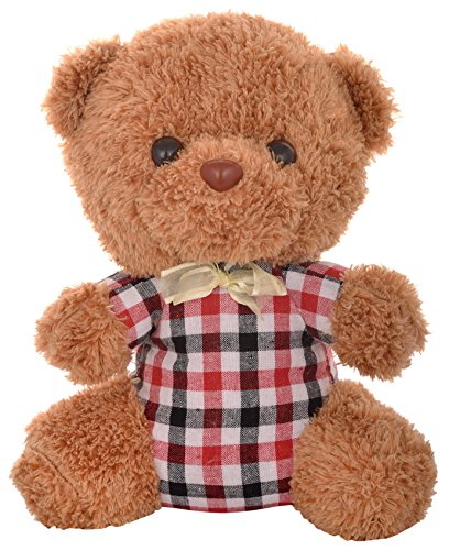 MEGADDICT Best & Cheap Small Cute & Cuddly Handmade Soft Plush Teddy Bear Toy for Your Kids / Friends Birthday Gift or I Love You Valentine Gift / Anniversary Gift for Your Wife / Girlfriend - Brown Teddy with Checks T-Shirt - 1 feet / 12 inches / 30 cms.  available at amazon for Rs.299