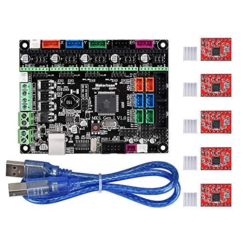 1.0 Controller-Platine mit integriertem Mainboard kompatibel Ramps 1.4 / Mega2560 R3 mit A4988 / DRV8825 Motortreiber für 3D-Drucker(A4988) ()