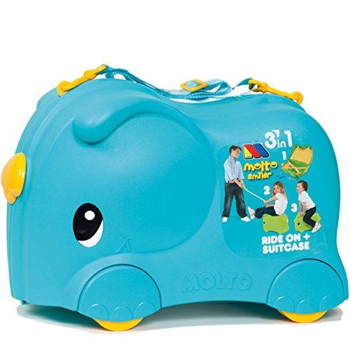18-Liter Kinderkoffer und Rutscher Smilar Jumbo, Bordgepäck, blau - Hartschale Kinder Koffer Rutsch Auto Trolly Trolley Kabingepäck
