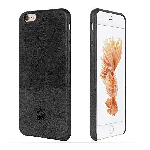 Original SUMGO® echt Wild Leder iPhone 6, 6s Flip Cover Schutzhülle Hülle Back Case Tasche - in Beige Braun Schwarz