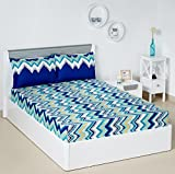 #7: Solimo Abstract Waves 144 TC 100% Cotton Double Bedsheet with 2 Pillow Covers, Green